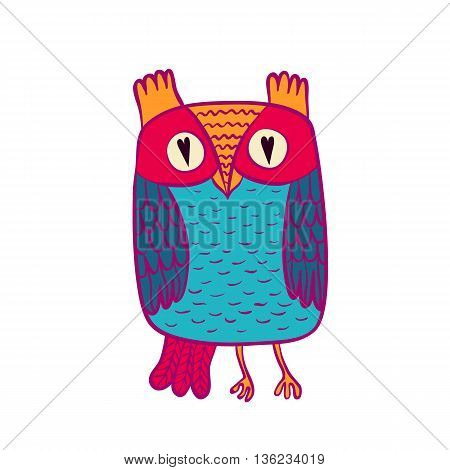 Vector illustration of owl. Bird illustrated in tribal. Shaped and ornamental owl.