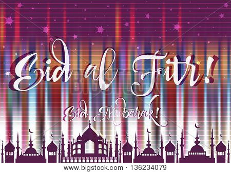 Holiday card with mosque for greeting with finish of fasting month Ramadan and Islamic holiday Eid al-Fitr as well Feast of Breaking the Fast. Vector illustration