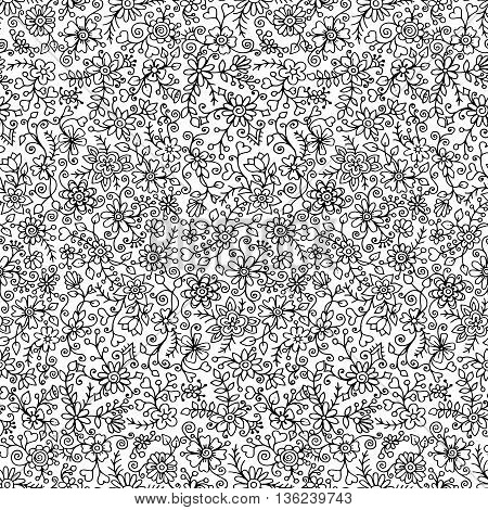 Black and white monochrome seamless hand drawn pattern with flowers. Ornate pattern with abstract flowers and leaves. Doodle floral background. Zentangle inspired pattern. Pattern for your business.