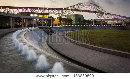 Colored Lights on the Corpus Christi Harbor Bridge from the Water Gardens at Bayfront Science Park