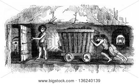 Scenes in coal mines in England, The trapper, vintage engraved illustration. Magasin Pittoresque 1843.