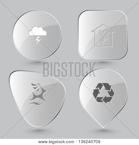 4 images: thunderstorm, flower shop, deer, recycle symbol. Nature set. Glass buttons on gray background. Vector icons.
