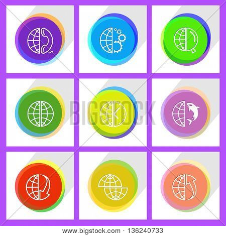 9 images: globe and array down,  and phone, shift globe, and clock, and gears,  and array up, and shamoo, and magnifying glass. Globe set. Internet template. Vector icons.