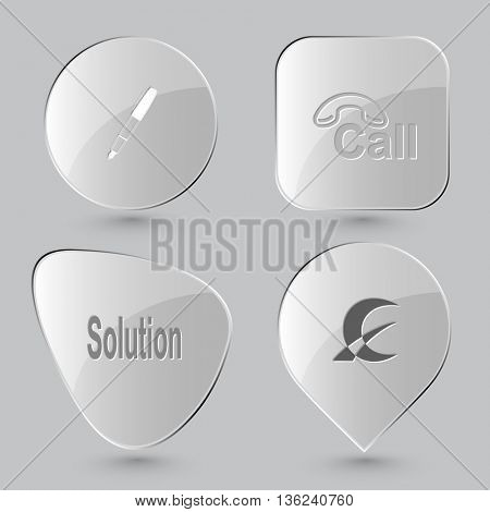 4 images: ink pen, hotline, solution, monetary sign. Business set. Glass buttons on gray background. Vector icons.