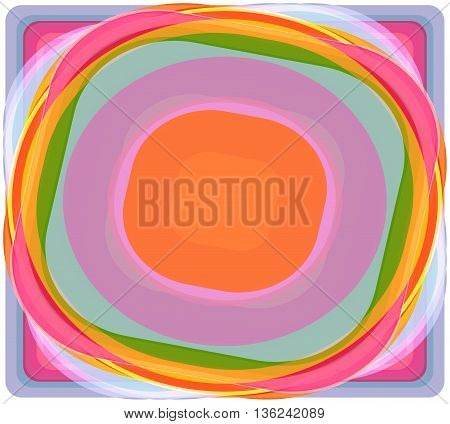 colorful circles squares overlap. stack of pancakes on a white background vector illustration