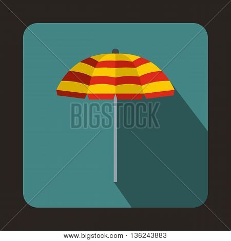 Yellow and red beach umbrella icon in flat style on a bluegreen background