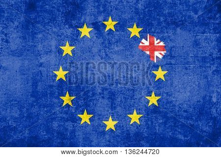 Brexit Blue European Union Eu Flag On Grunge Texture With Eraser Effect And Great Britain Flag Insid