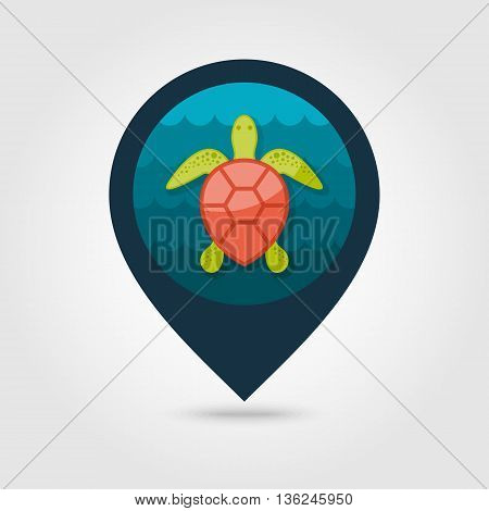 Sea turtle vector pin map icon. Beach Map pointer. Summer Map markers. Summertime. Vacation eps 10