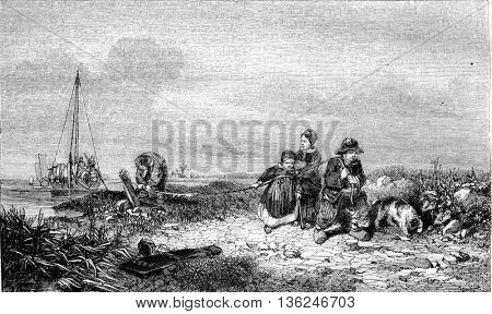 1843 Exhibition of Painting, The towpath, vintage engraved illustration. Magasin Pittoresque 1843.