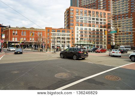 JERSEY CITY, NJ - CIRCA MARCH, 2016: Jersey City at daytime. Jersey City is the second most populous city in the U.S. state of New Jersey after Newark.