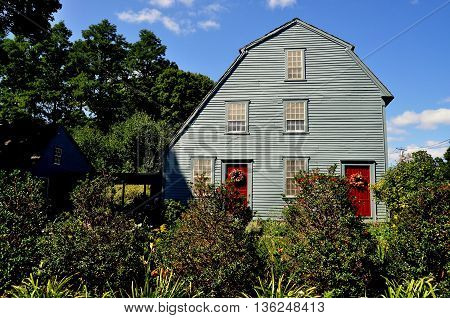 Woodbury Connecticut - September 15 2014: The 1750 colonial-era Glebe House with its unusual combination of gambrel and saltbox roof styles