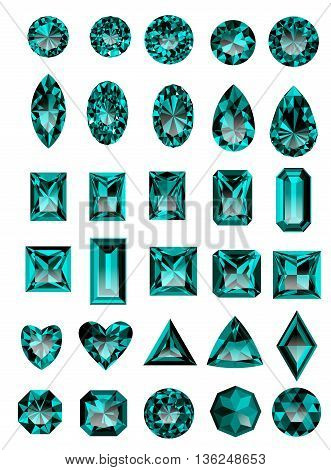 Set of realistic blue amethyst jewels isolated on white background with different cuts. Princess cut jewel. Round cut jewel. Emerald cut jewel. Oval cut jewel. Pear cut jewel . Heart cut jewel.