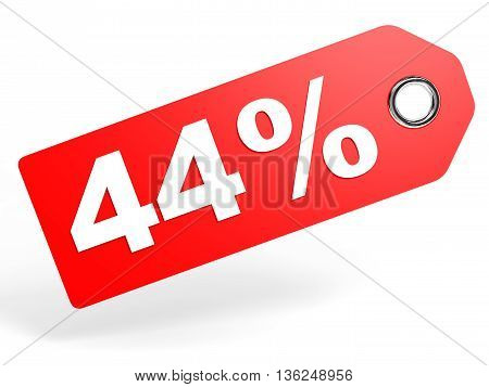 44 Percent Red Discount Tag On White Background.