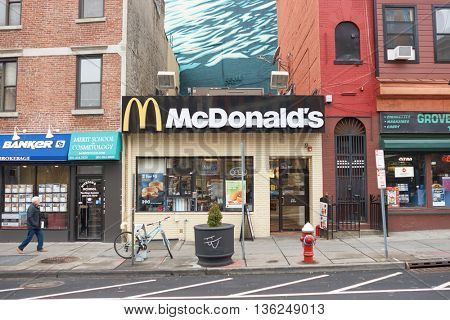 JERSEY CITY, NJ - CIRCA MARCH, 2016: exterior of McDonald's restaurant. McDonald's is the world's largest chain of hamburger fast food restaurants, founded in the United States.