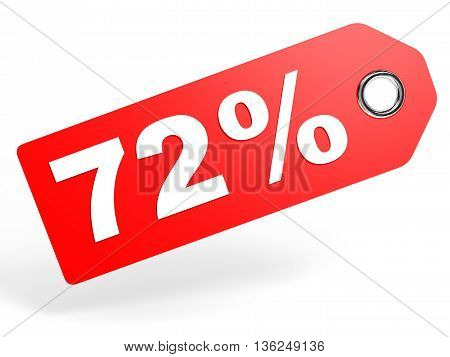 72 Percent Red Discount Tag On White Background.