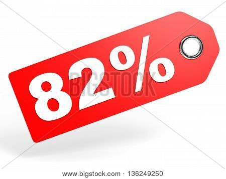 82 Percent Red Discount Tag On White Background.