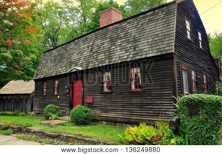 Wethersfield Connecticut - July 16 2015: The Ezra Webb House built prior to 1730 on Broad Street