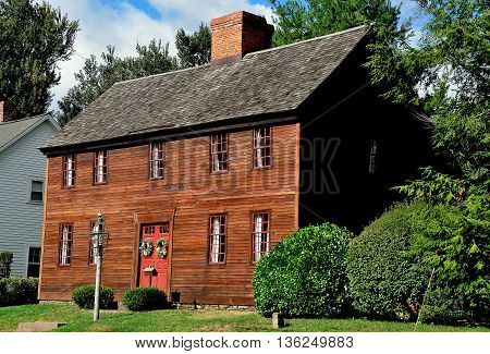 Wethersfield Connecticut - July 16 2015:   Circa 1718 Captain Thomas Newsom House on Broad Street in the Wethersfield historic district