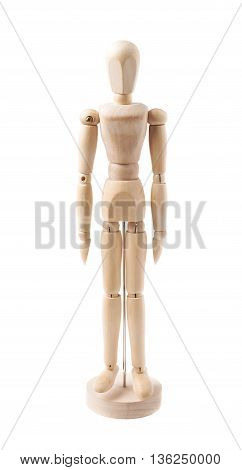 Made of wood human doll puppet statuette isolated over the white background