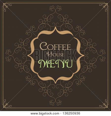 Coffee Retro Design wit florish border and vintage frame