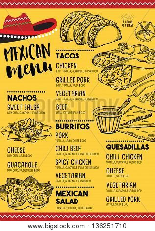 Free Mexican Menu Template | Mexican Menu Placemat Vector Photo Free Trial Bigstock