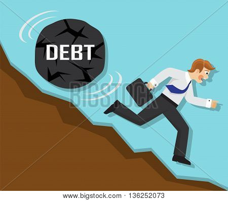 businessman running fast from the mountain, but for businessman rolling a big stone with the word