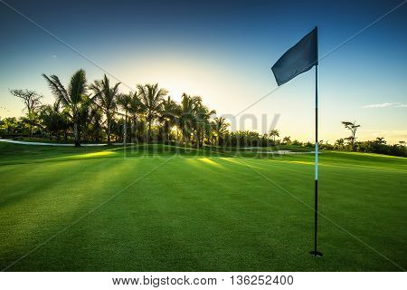 Golf course in the countryside  of Punta Cana, Dominican Republic