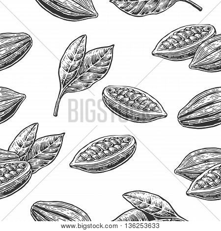 Seamless pattern with leaves and fruits of cocoa beans. Black and white color. Vintage vector hand drawn engraving illustration. Isolated on white background.