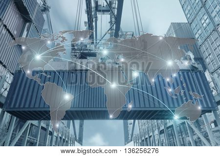 Import Export Logistics concept - Map global partner connection of Container Cargo freight ship for Logistic Import Export background (Elements of this image furnished by NASA)
