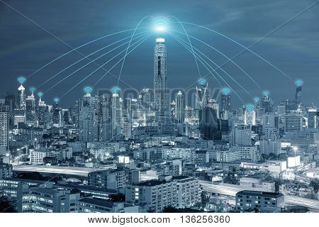 Technology Network and Conection concept - Wifi network connection in center business district use for wifi network connection background.