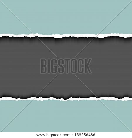 Gray ripped page on dark background, relistic vector illustrator. Frame for text with ripped paper. Torn edges paper