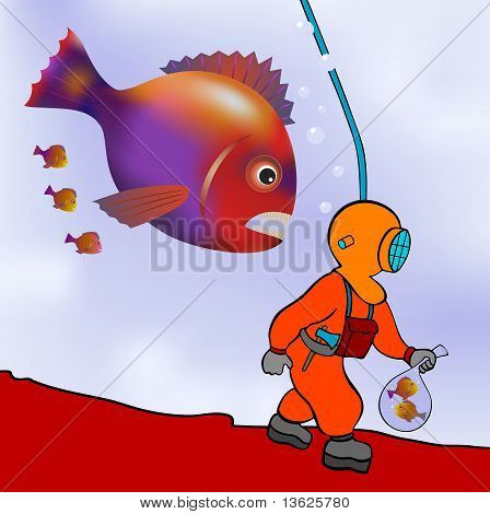 Diver On The Prowl - Vector