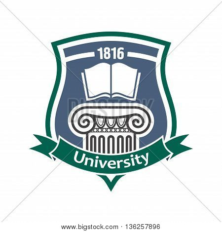 Educational institution vintage sign of medieval shield with open book and decorative ancient greek column, supplemented by heraldic ribbon banner. Architectural or historical education theme design