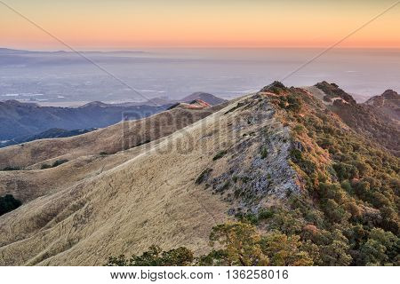Sunset over the highest peaks of Gavilan Ranges and the Monterey Bay. Fremont Peak State Park, San Benito County, California