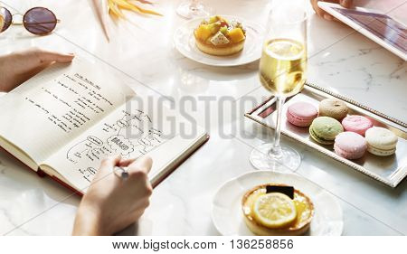 Sweet Couple Dining Macaroons Concept