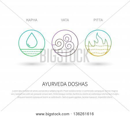 Ayurveda doshas vector thin icons isolated on white. Ayurvedic body types vata dosha, pitta dosha, kapha dosha. Infographic with flat linear icons. Alternative ayurvedic medicine.