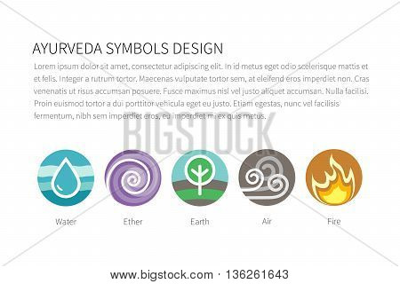 Ayurvedic elements water, fire, air, earth and ether icons isolated on white. Flat colorful vector ayurvedic icons. Vector template for ayurvedic infographic and web sites.