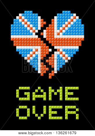 Union Jack heart made out of pixel blocks breaking as a consequence of the Brexit referendum