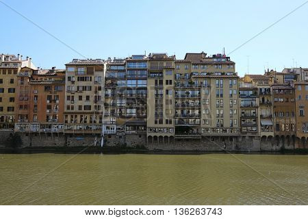 Embankment of Amo river in Florence, Italy poster
