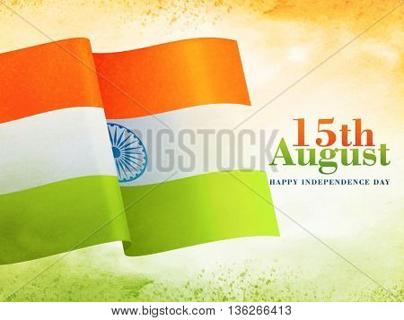 Creative Waving Indian National Flag on abstract background for 15th August, Happy Independence Day celebration.