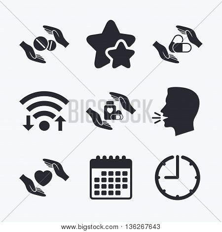 Hands insurance icons. Health medical insurance symbols. Pills drugs and tablets bottle signs. Wifi internet, favorite stars, calendar and clock. Talking head. Vector