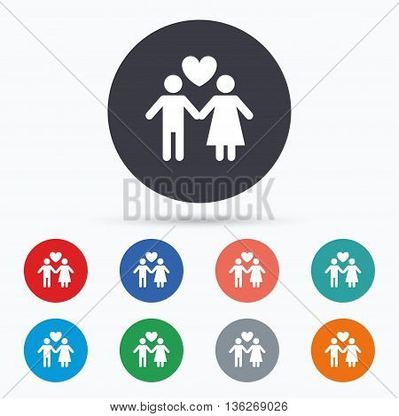 Couple sign icon. Male love female. Lovers. Flat couple icon. Simple design couple symbol. Couple graphic element. Circle buttons with couple icon. Vector