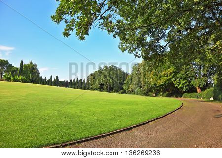 The most romantic landscape park garden in Italy. Comfortable walking path goes through the green grassy lawn