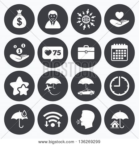 Calendar, wifi and clock symbols. Like counter, stars symbols. Insurance icons. Life, Real estate and House signs. Saving money, vehicle and umbrella symbols. Talking head, go to web symbols. Vector