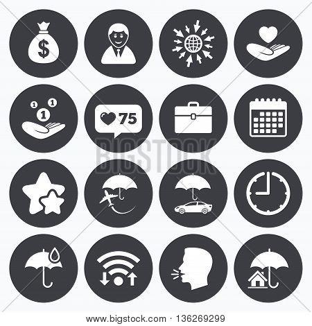 Calendar, wifi and clock symbols. Like counter, stars symbols. Insurance icons. Life, Real estate and House signs. Saving money, vehicle and umbrella symbols. Talking head, go to web symbols. Vector