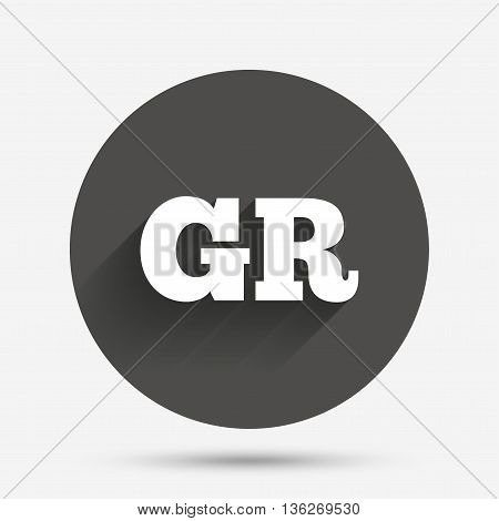 Greek language sign icon. GR Greece translation symbol. Circle flat button with shadow. Vector