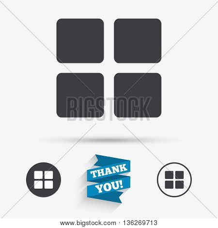 Thumbnails sign icon. Gallery view option symbol. Flat icons. Buttons with icons. Thank you ribbon. Vector