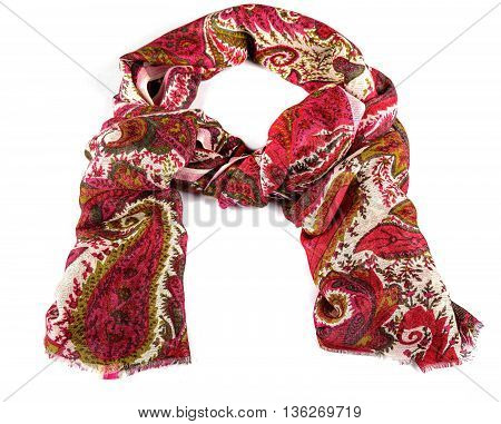 colored wool and silk scarf isolated on white