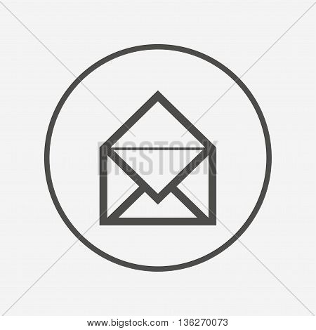 Mail icon. Envelope symbol. Message sign. Flat mail icon. Simple design mail symbol. Mail graphic element. Round button with flat mail icon. Vector