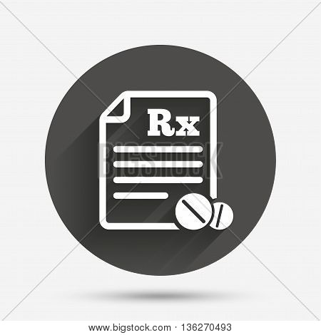 Medical prescription Rx sign icon. Pharmacy or medicine symbol. With round tablets. Circle flat button with shadow. Vector